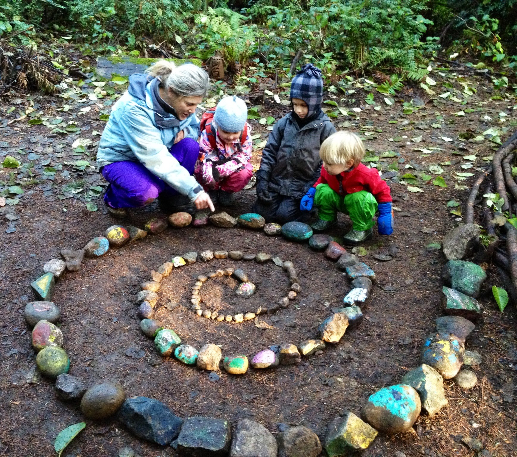 Building a Solstice Spiral at Cedarsong Nature School | Photo courtesy Erin Kenny