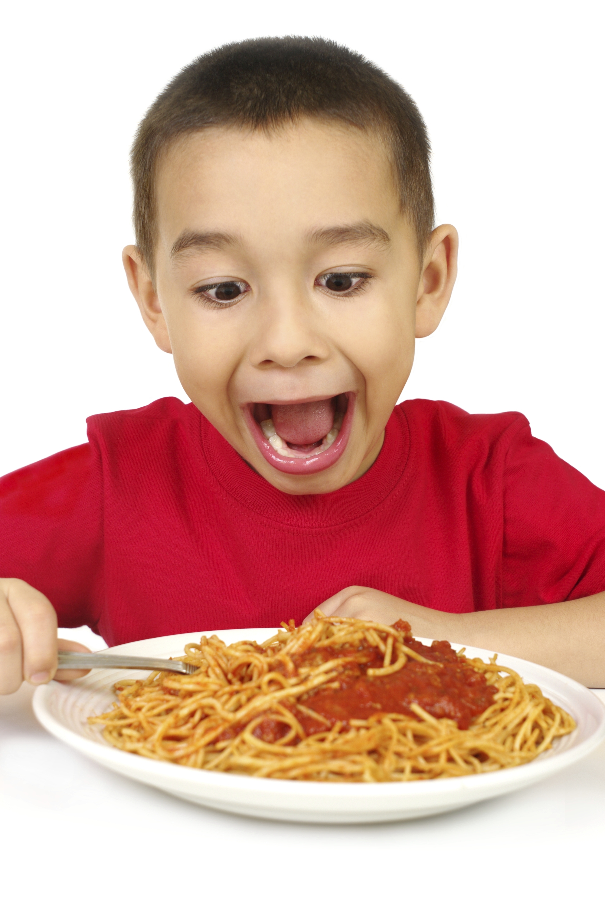 young boy excited about spaghetti