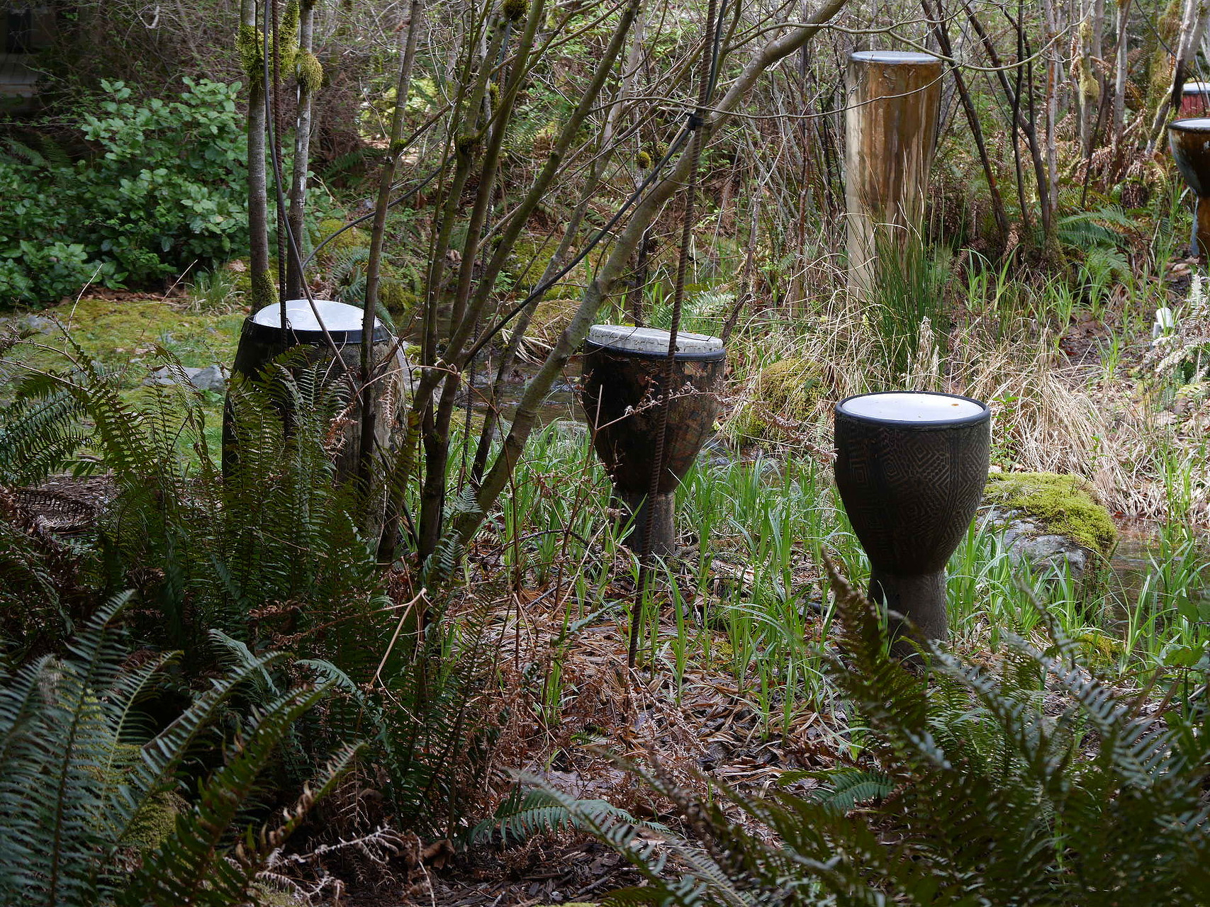 Rain drums at the Cedar River Watershed Center. Photo credit: April Chan