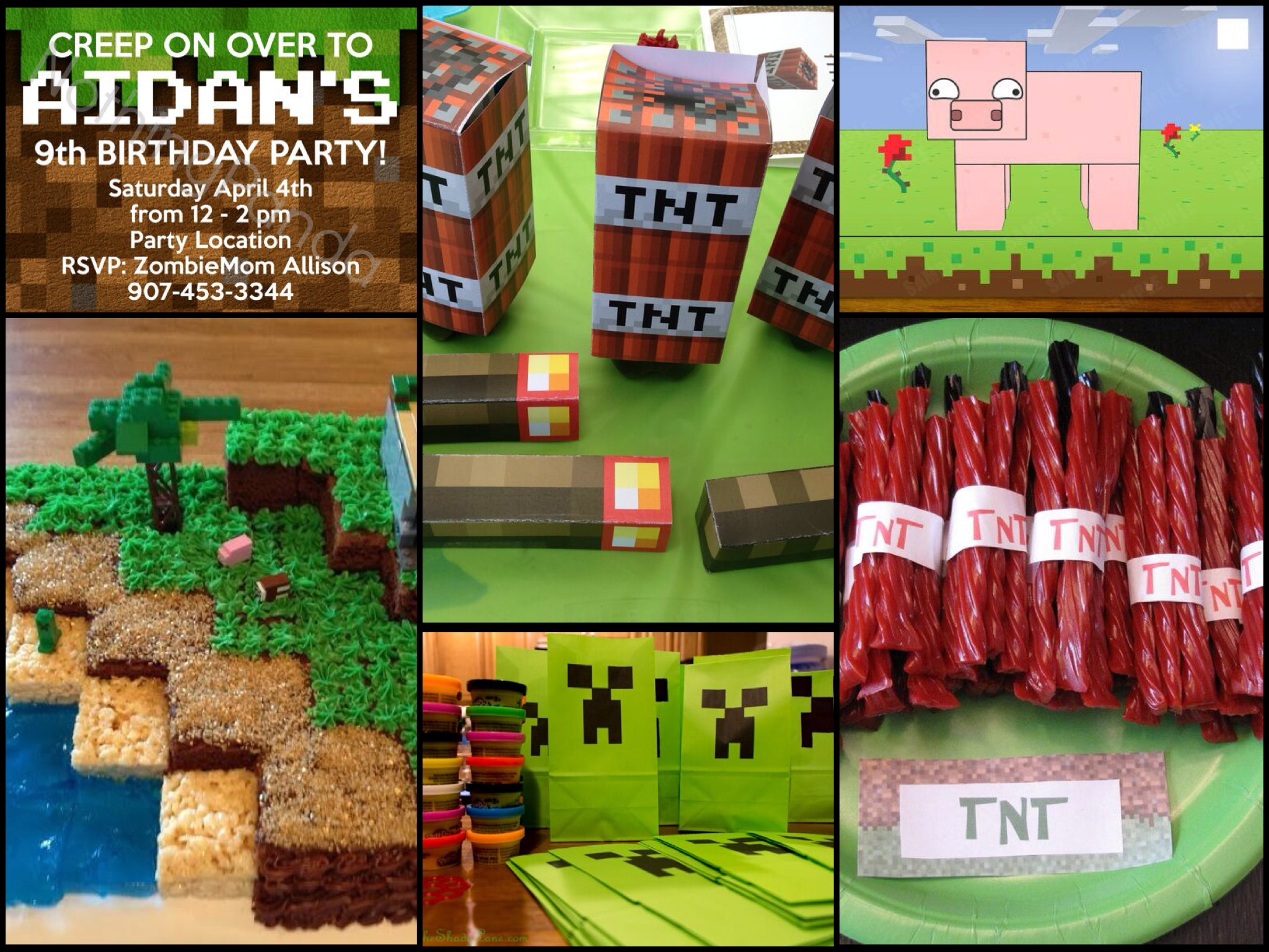 Minecraft birthday party ideas parentmap for Bag decoration games