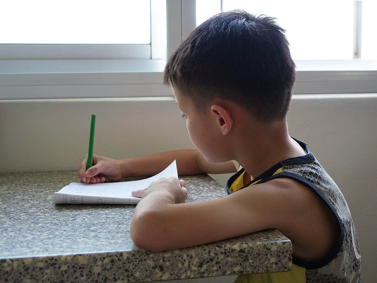 Boy with pencil and workbook at table