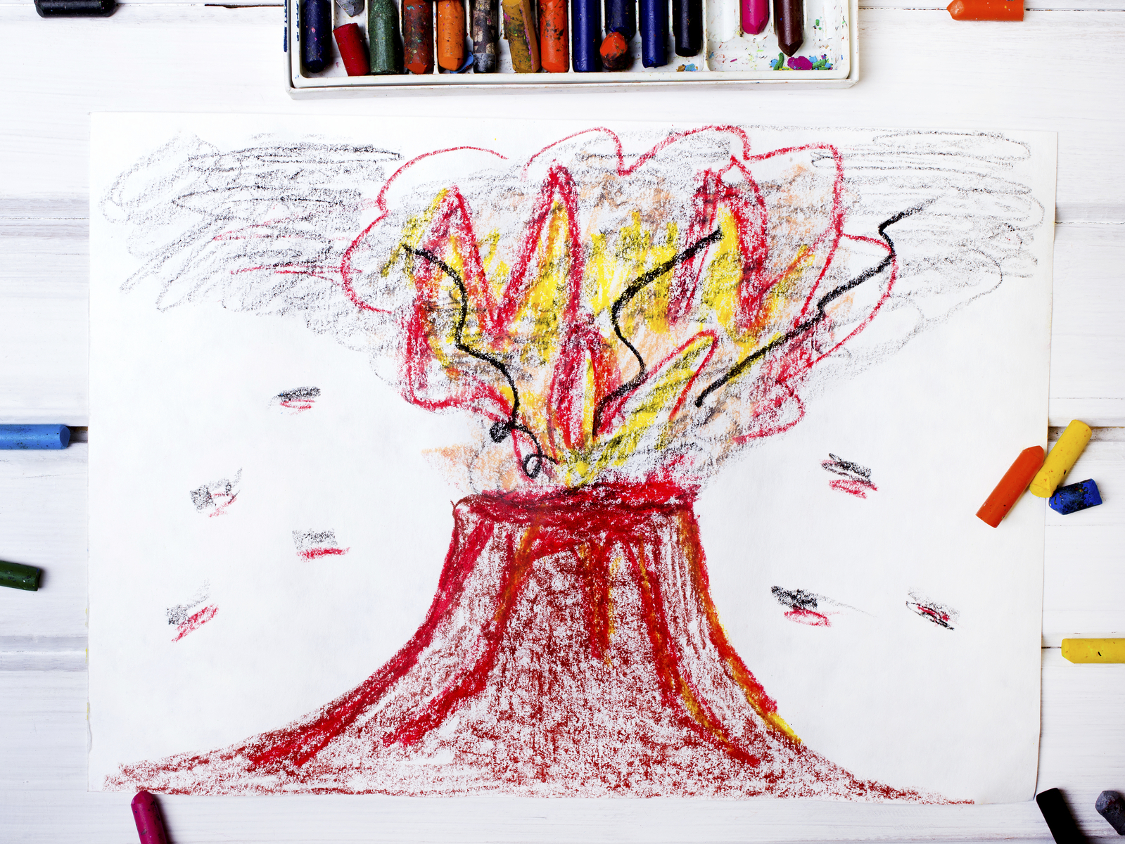 child's drawing of a volcano