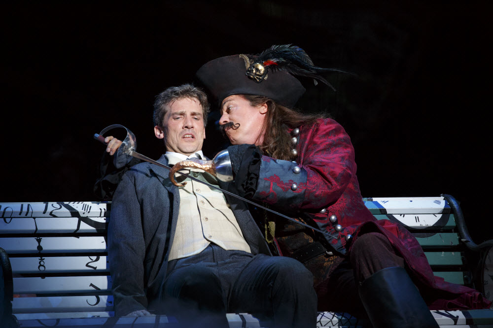 Kevin Kern as J.M. Barrie and Tom Hewitt as Captain Hook in the National Tour of 'Finding Neverland'
