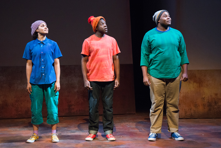 From left, China Brickey, Mikell Sapp and H. Adam Harris in The Snowy Day and Other Stories by Ezra Jack Keats. Photo credit: Elise Bakketun