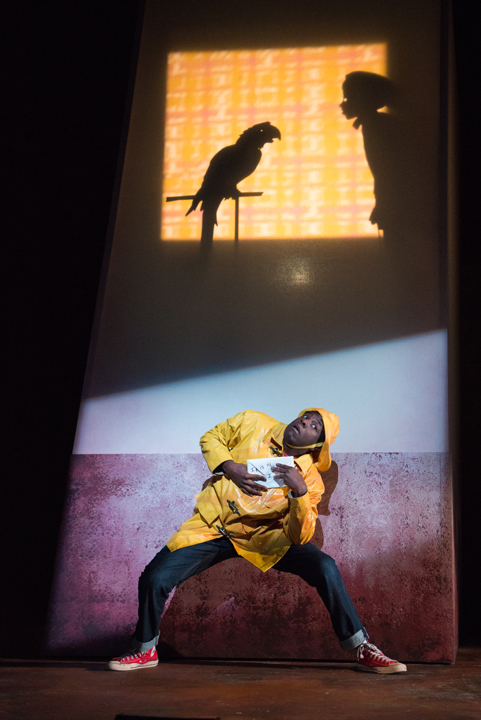 ". Mikell Sapp as Peter in ""The Snowy Day and Other Stories by Ezra Jack Keats."" In this scene, Peter is sneaking by his friend Amy's window to mail her a letter. Photo credit: Elise Bakketun"