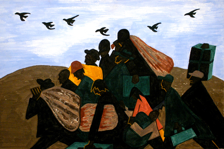 "Panel 3, from Jacob Lawrence's Migration Series. The caption reads: ""From every southern town migrants left by the hundreds to travel north."""