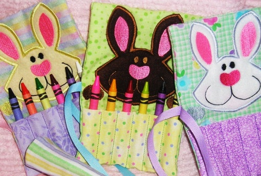 Easter Bunny crayon holder by Kin-N-Around-Creations on Etsy