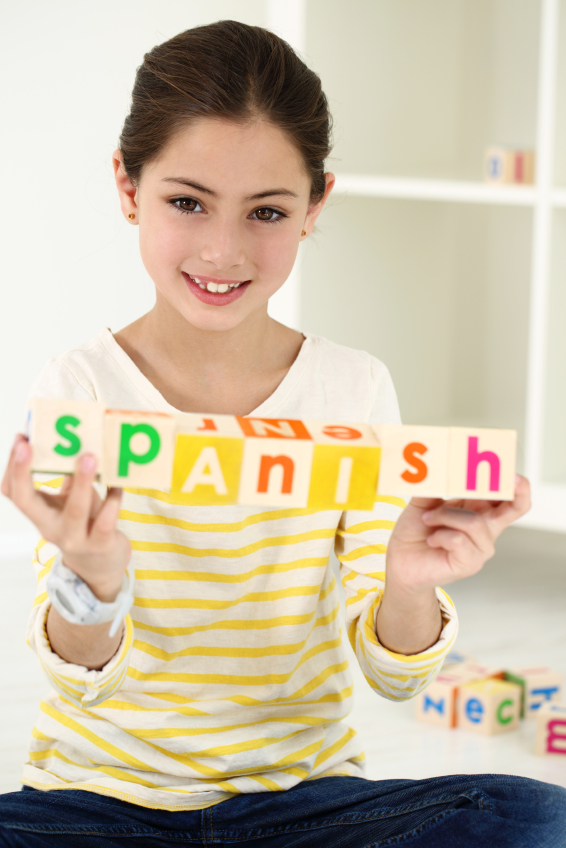 girl with Spanish blocks