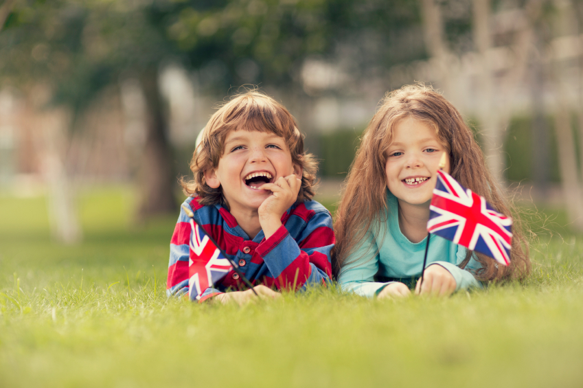 children with union jack