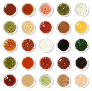 Array of dipping sauces