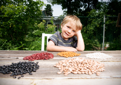 Little boy with his seed and bean collection from family garden