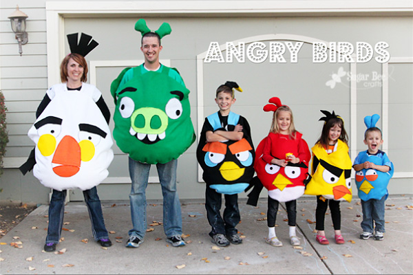 DIY Angry Birds Halloween costumes for kids by Sugar Bee Crafts
