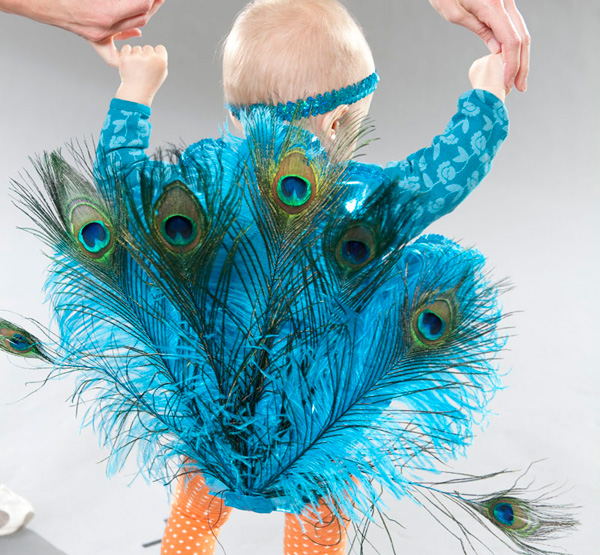 DIY peacock Halloween costume for kids by Creatively Christy