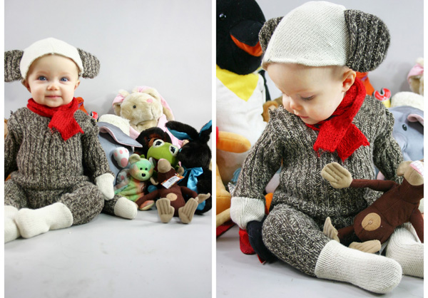 DIY sock monkey Halloween costume for kids by Grosgrain  sc 1 st  ParentMap : homemade baby boy halloween costumes  - Germanpascual.Com