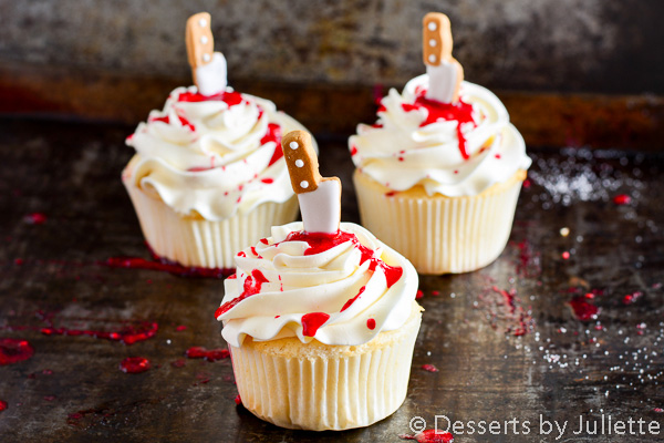 Halloween treats: Blood-spattered Dexter cupcakes by Desserts By Juliette
