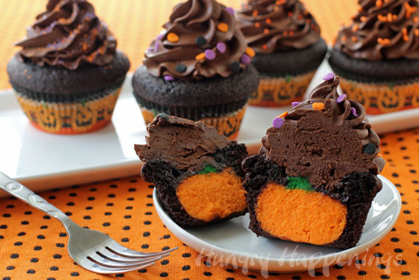 Halloween treats: Pumpkin cheesecake-stuffed chocolate cupcakes by Hungry Happenings