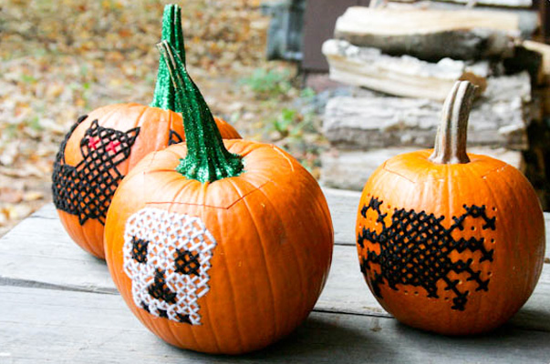 halloween no carve embroidered pumpkins by blog a la cart - Halloween Pumpkin Designs Without Carving
