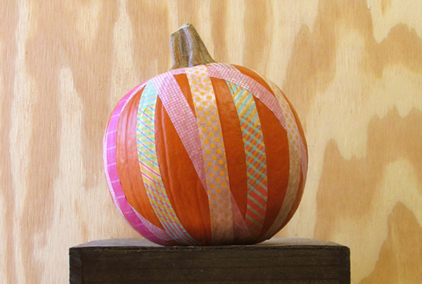 Halloween no-carve washi tape pumpkin by Make Something Happy