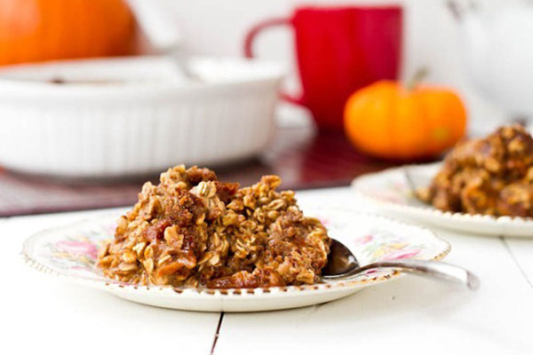 Thanksgiving leftovers idea: Leftover pumpkin pie breakfast casserole by Oh How She Glows