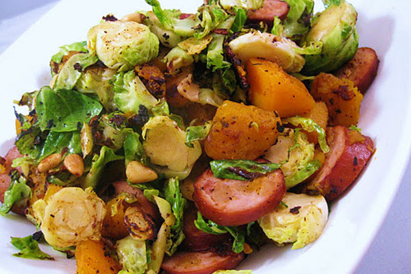 Healthy Thanksgiving side dish: Shredded Brussels sprouts with apple chicken sausage and squash by Cara's Cravings