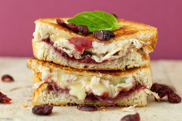 Thanksgiving leftovers idea: Grilled cheese sandwiches with turkey and cranberry sauce by BS' In the Kitchen