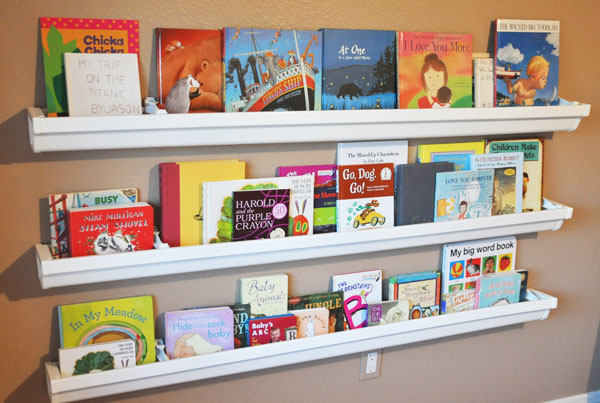 Attractive DIY Organizing Ideas: DIY Rain Gutters Bookshelves By Her View From Home