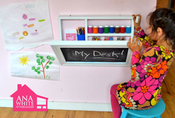 DIY organizing ideas: DIY fold-out desk for kids by Ana White