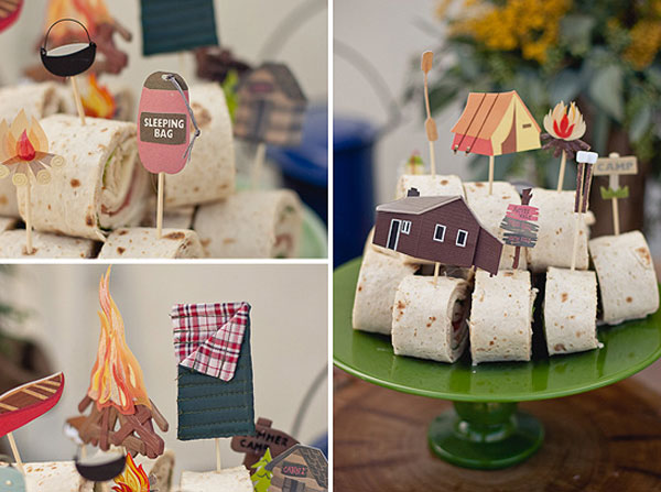 Unique baby shower themes: Camping-themed baby shower by On to Baby