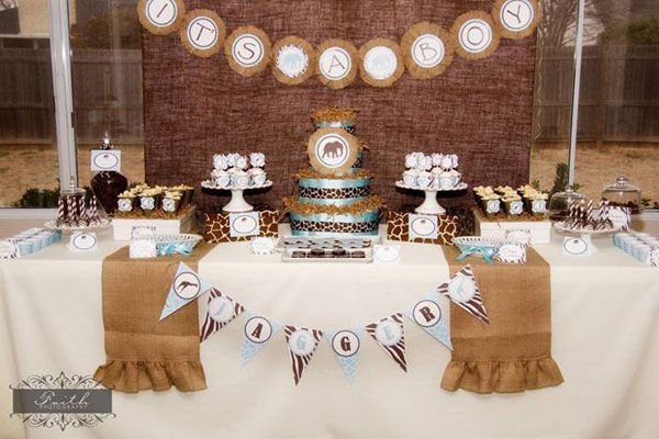 Unique baby shower themes: Safari-themed baby shower by Kara's Party Ideas