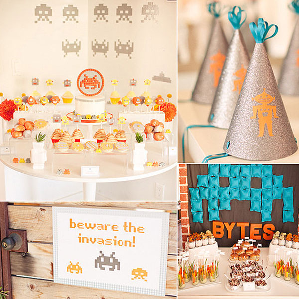 Unique baby shower themes: Space Invaders-themed baby shower by Inspired By This
