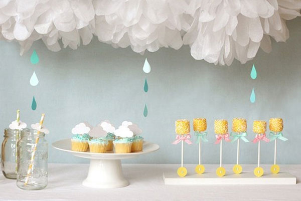 Unique baby shower themes: Rain shower-themed baby shower by Lisa Storms