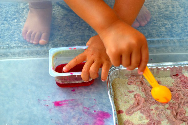 Creative ideas for using beets: Sand and beet juice activity for kids by Connecting Family and Seoul