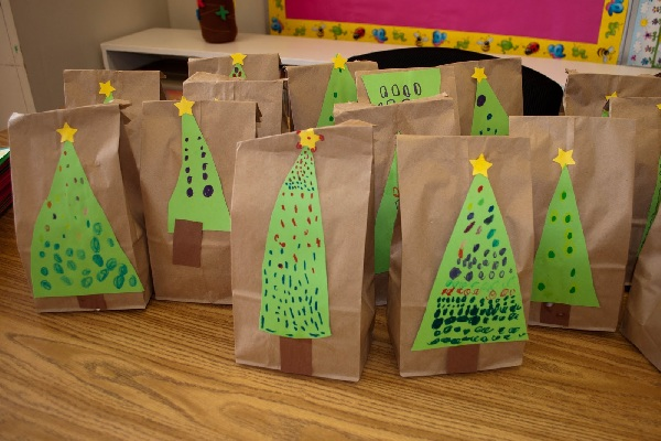 Gift bags by Mrs. Ricca's kindergarten