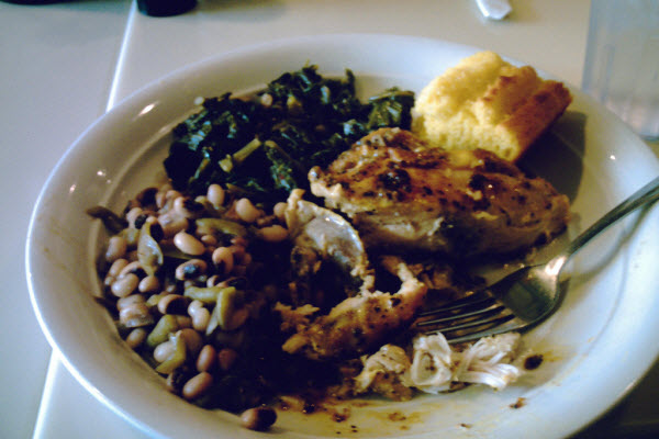 Black-eyed Peas and Collard Greens Southern New Years Foods