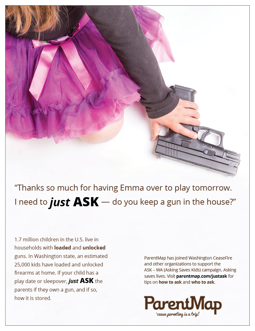 Girl with pink tutu picking up a gun campaign ad for just ask if there is a gun in the home