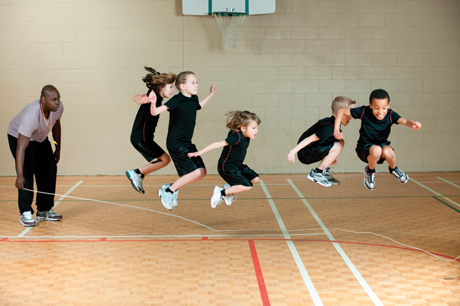 Kids in gym class battling obesity importance of physical education active girls and boys