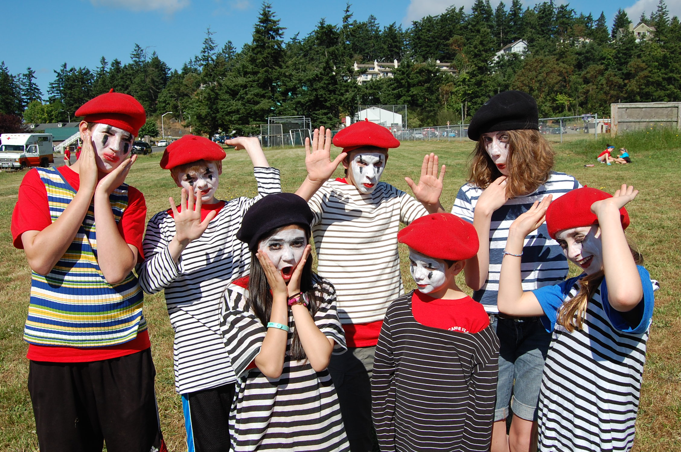 language immersion school kids dressed as mimes