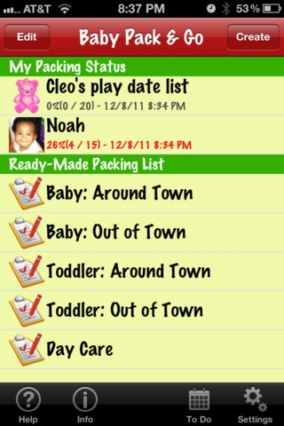 Baby Pack & Go iPhone app
