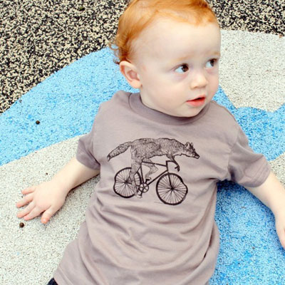 Fox on a bike t-shirt by Dark Cycle Clothing on Etsy