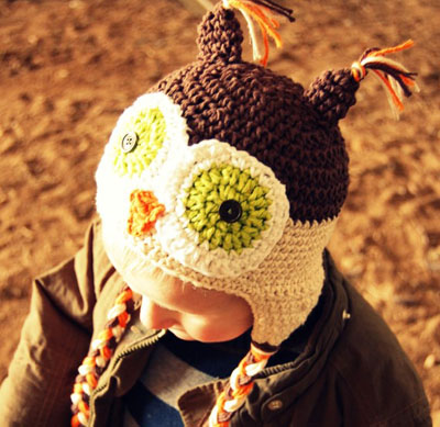 Crocheted owl hat by The Little Pea Shoppe on Etsy