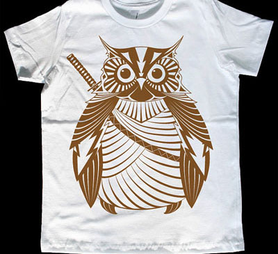 Samurai owl t-shirt by Iron Spider on Etsy