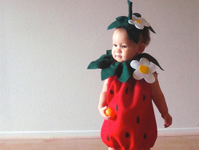 Strawberry Halloween costume by Not The Kitchen Sink on Etsy