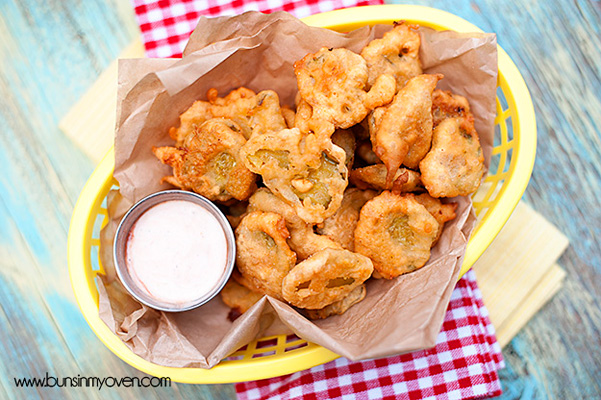 Super Bowl Snack: Homemade fried pickles by Buns In My Oven