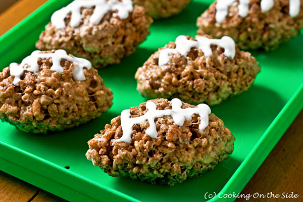 Super Bowl Snack: Rice Krispies treat footballs by Cooking On the Side