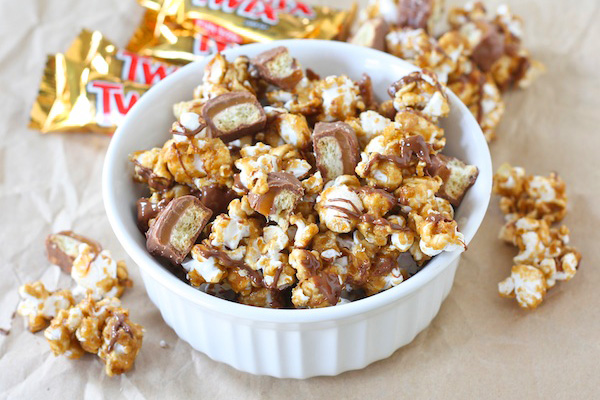Super Bowl Snack: Twix bar caramel popcorn by Two Peas & Their Pod