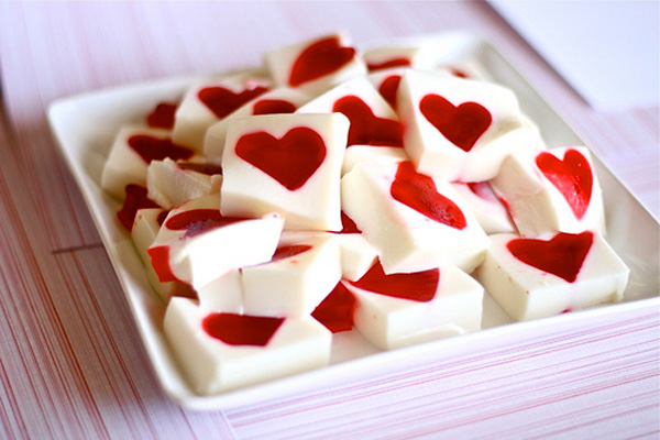 Valentine's Day heart Jell-O squares by The Hungry Housewife