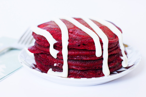 Valentine's Day red velvet pancakes by Sarah Hearts