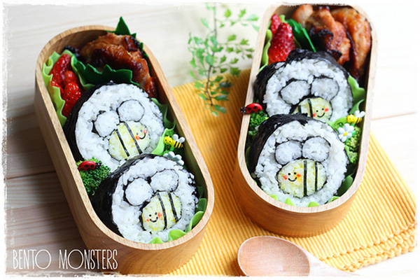 Spring bumble bees bento box lunch for kids by Bento, Monsters