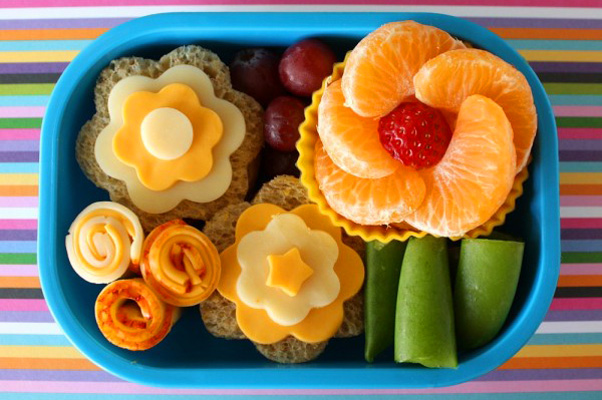 Spring flowers bento box lunch for kids by Alpha Mom