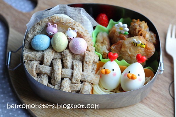 Easter basket bento box lunch for kids by Bento, Monsters